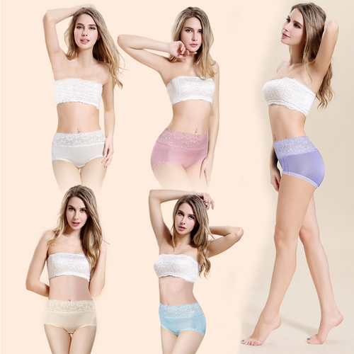 White + Pink + Light Blue + Light Purple + Beige Silk Panties