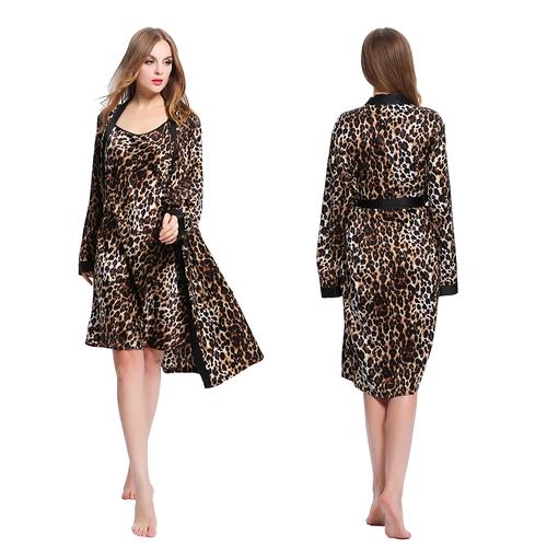 Leopardo Camisola Y Bata De Seda