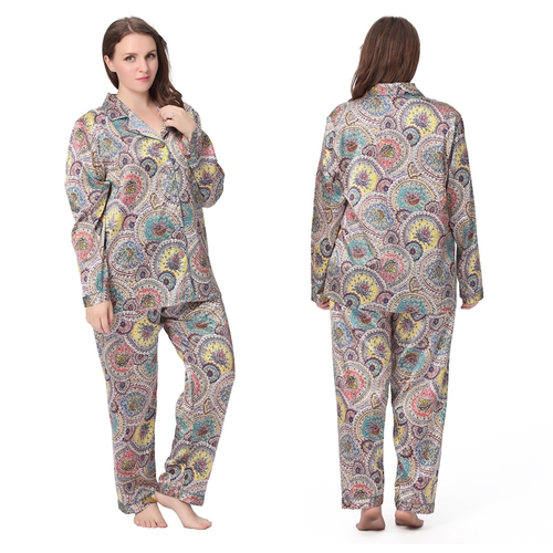 Floral Printing Yellow & Green Plus Size Silk Pyjamas