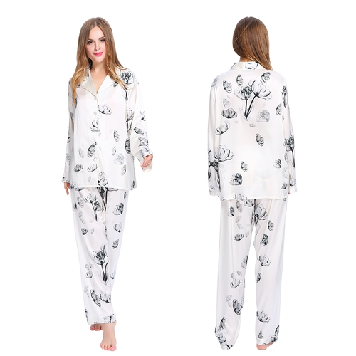 Lotus White Women Silk Pajama