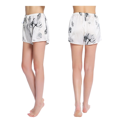 Blanco loto Pantalón De Pijama Seda