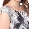 Floral Ink Painting- Gray Plus Size Silk Nightgown