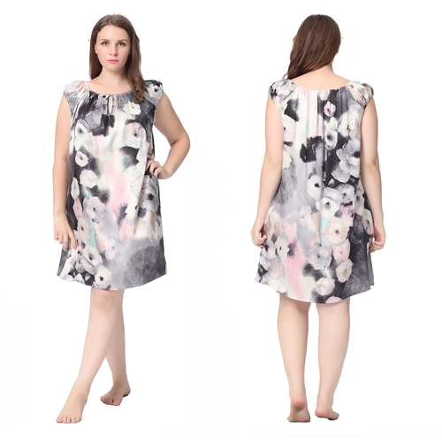 Floral Ink Painting Gray Plus Size Silk Nightgown
