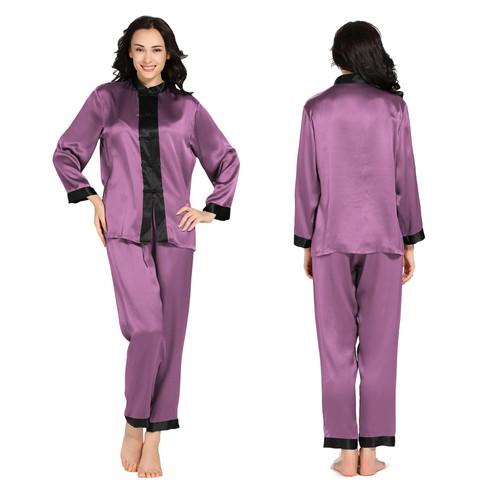 Violett Damen Seide Pyjamas