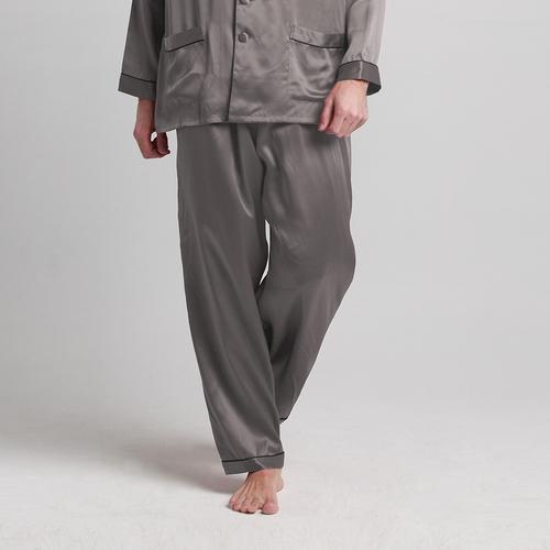 Dunkel Grau Herren Seide Pyjamas
