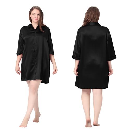 Schwarz Seide Nachthemd