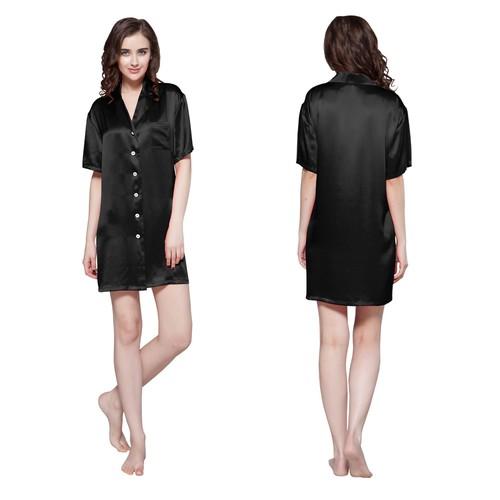 Schwarz Damen Seide Nachthemd