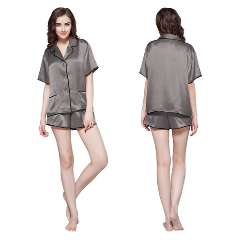 Dunkel Grau Damen Seide Pyjamas