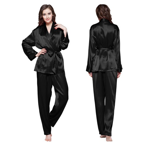 Schwarz Damen Seide Pyjamas