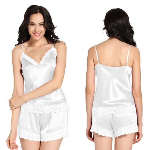 Weiß Damen Seide Pyjamas