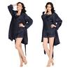 Bleu Marine Robe de Chambre Pyjama Soie Femme