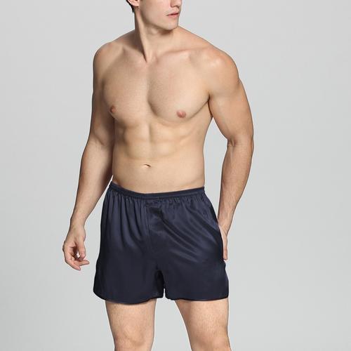 Bleu Marine Pyjashort Homme Soie