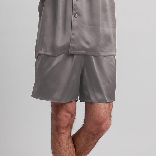 Gris Foncé Pyjashort Homme Soie