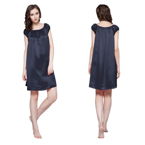 Blu-Marino Camicia da notte di seta donna