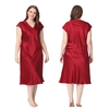 Rouge Vineux Chemise de Nuit Soie Grande Taille Femme