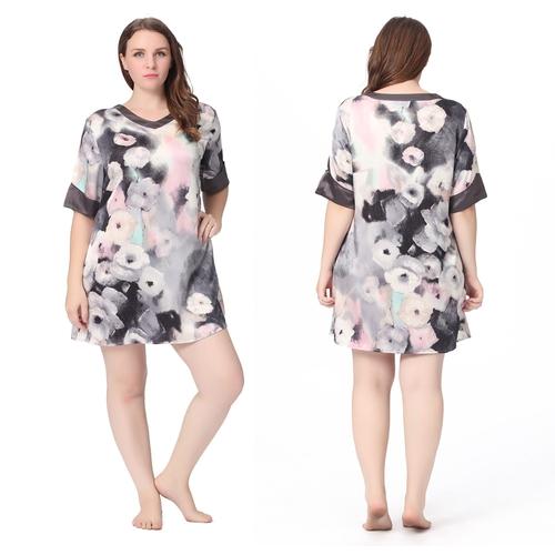 Imprimée Floral Gris Chemise de Nuit Soie Grande Taille Femme