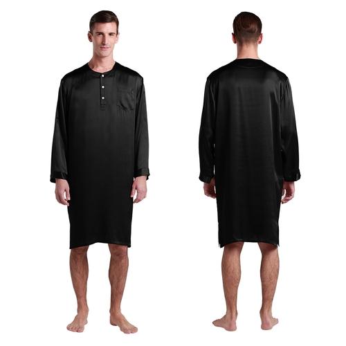 chemise de nuit en soie pour homme col rond. Black Bedroom Furniture Sets. Home Design Ideas