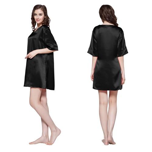 Nero Camicia da notte di seta donna