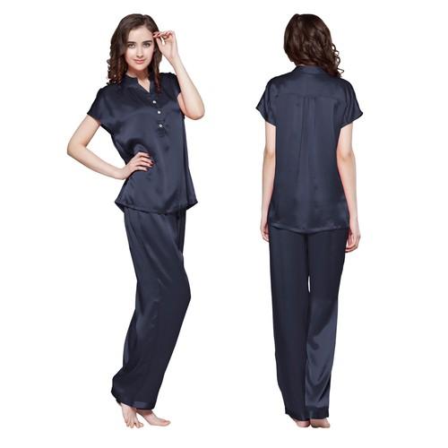 Blu-Marino Pyjama Femme Soie