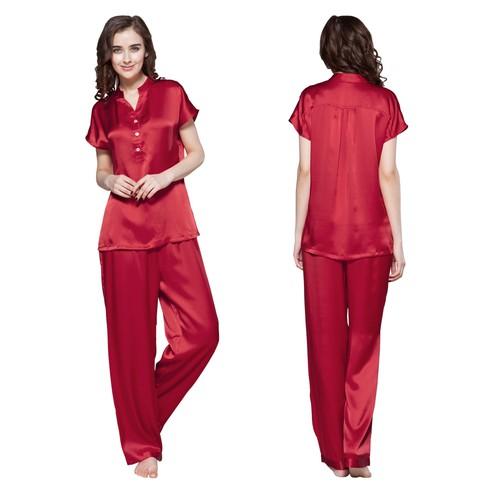 Rouge Vineux Pyjama Femme Soie