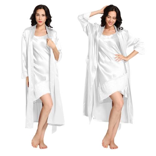 Blanc Robe de Chambre Pyjama Soie Femme