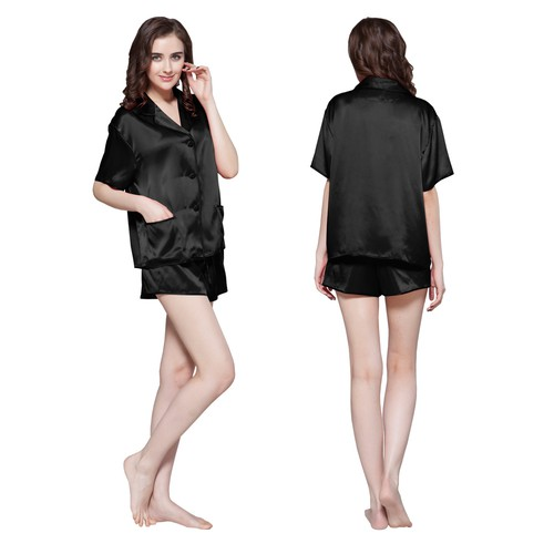 Noir Pyjama Femme Soie
