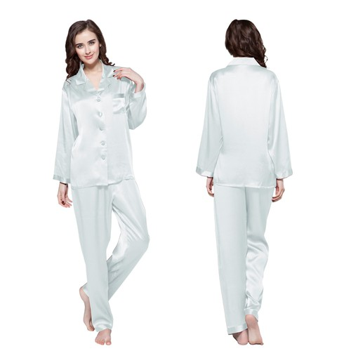 Bleu Ciel Clair Pyjama Femme Soie