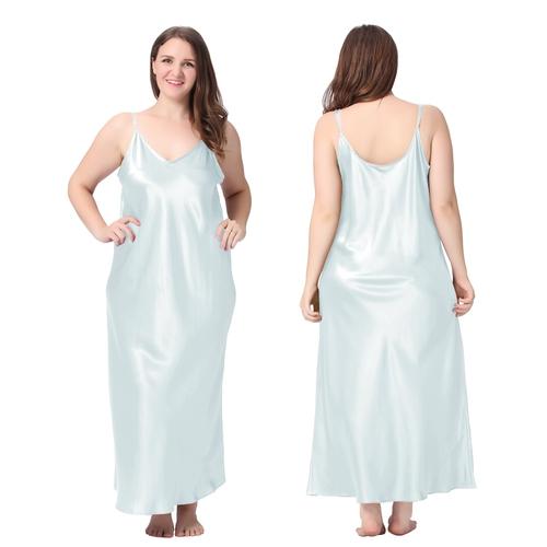Bleu Ciel Clair Chemise de Nuit Soie Grande Taille Femme