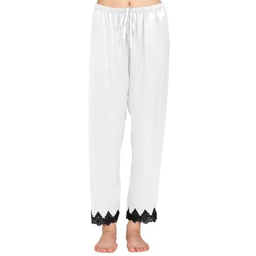 Blanc Pantalon Femme Soie