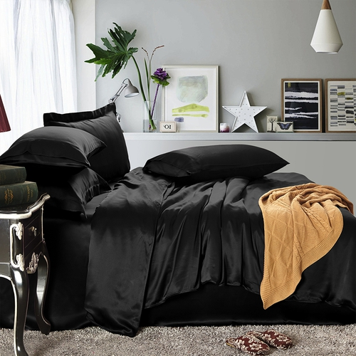 parure de lit en soie 19 momme sans couture noir. Black Bedroom Furniture Sets. Home Design Ideas
