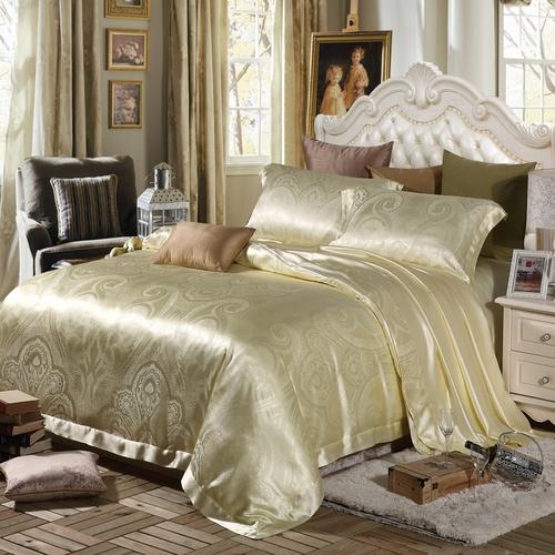 parure de lit en soie 19 momme sans couture jacquard. Black Bedroom Furniture Sets. Home Design Ideas
