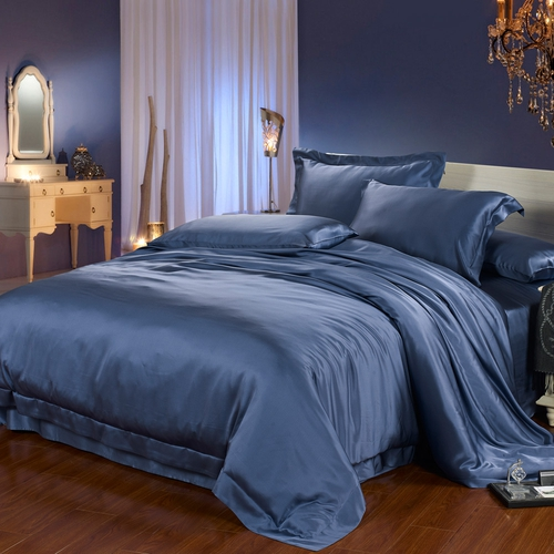 parure de lit en soie 22 momme sans couture bleu oc an. Black Bedroom Furniture Sets. Home Design Ideas