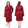 Rouge Vineux Robe de Chambre Soie Grande Taille Femme
