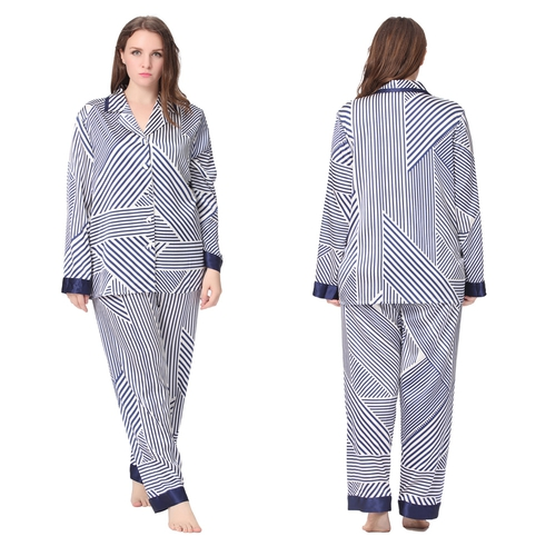 Bleu et Blanc Pyjama Soie Grande Taille Femme
