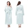Bleu Ciel Clair Robe de Chambre Soie Grande Taille Femme