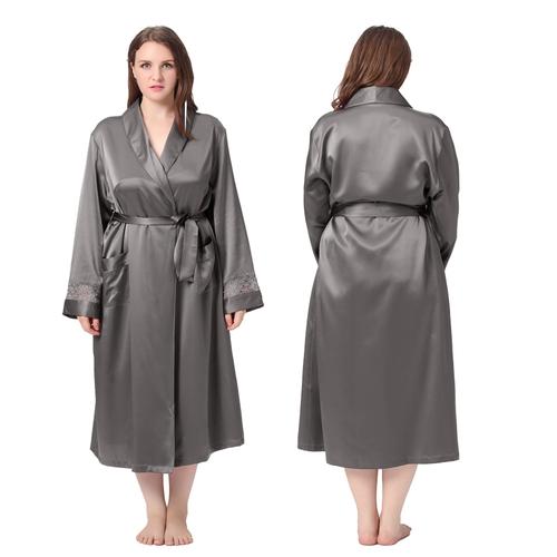 Gris Foncé Robe de Chambre Soie Grande Taille Femme