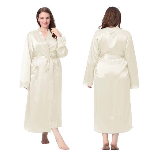 robe de chambre femme soie 22 momme poignet dentelle gt - Robe De Chambre Femme
