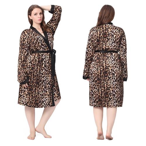 robe de chambre mi longue en soie l opard grande taille lilysilk. Black Bedroom Furniture Sets. Home Design Ideas