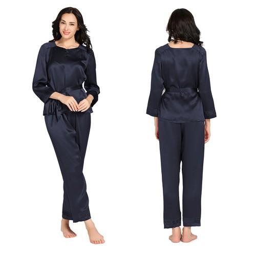 Bleu Marine Pyjama Femme Soie