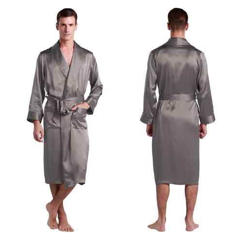 Gris Foncé Robe de Chambre Homme Soie