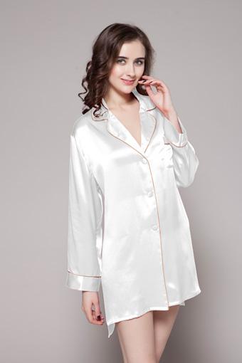 9c7ff44a6e 22 Momme Contra Trim Silk Nightshirt L White