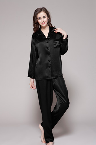 Black Silk Pajamas: 22 Momme Full-Length Silk Pajamas Set