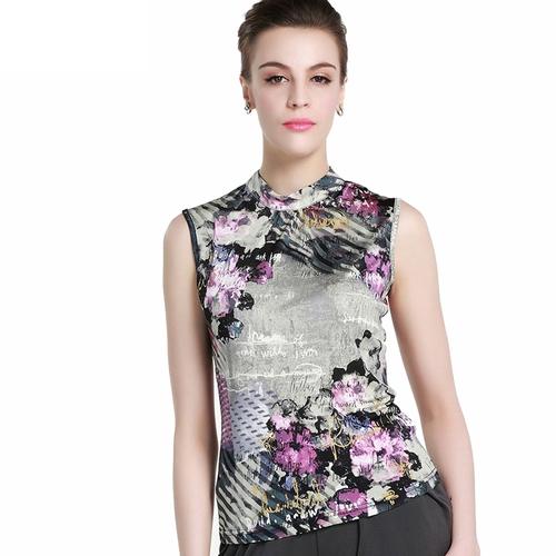 Floral Green  Silk T-Shirt