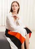 Nature White and French Red and Black Silk Skirts