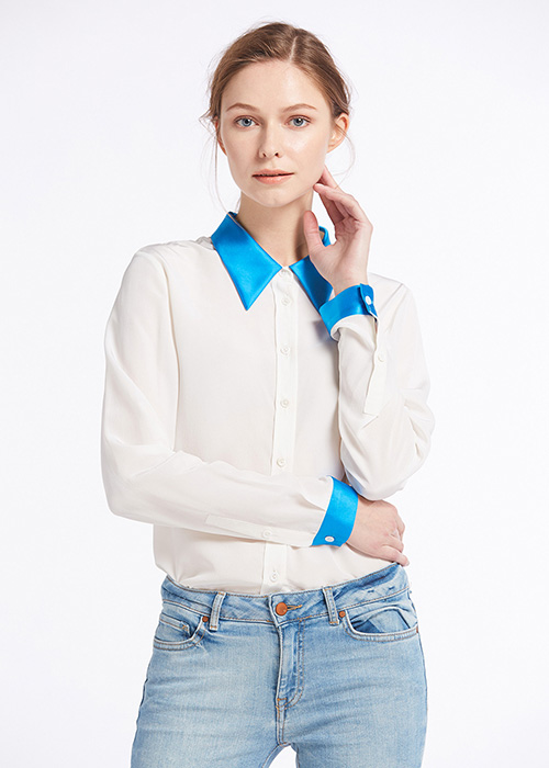 18mm Relaxed Color Block Silk Shirts (model:8364)