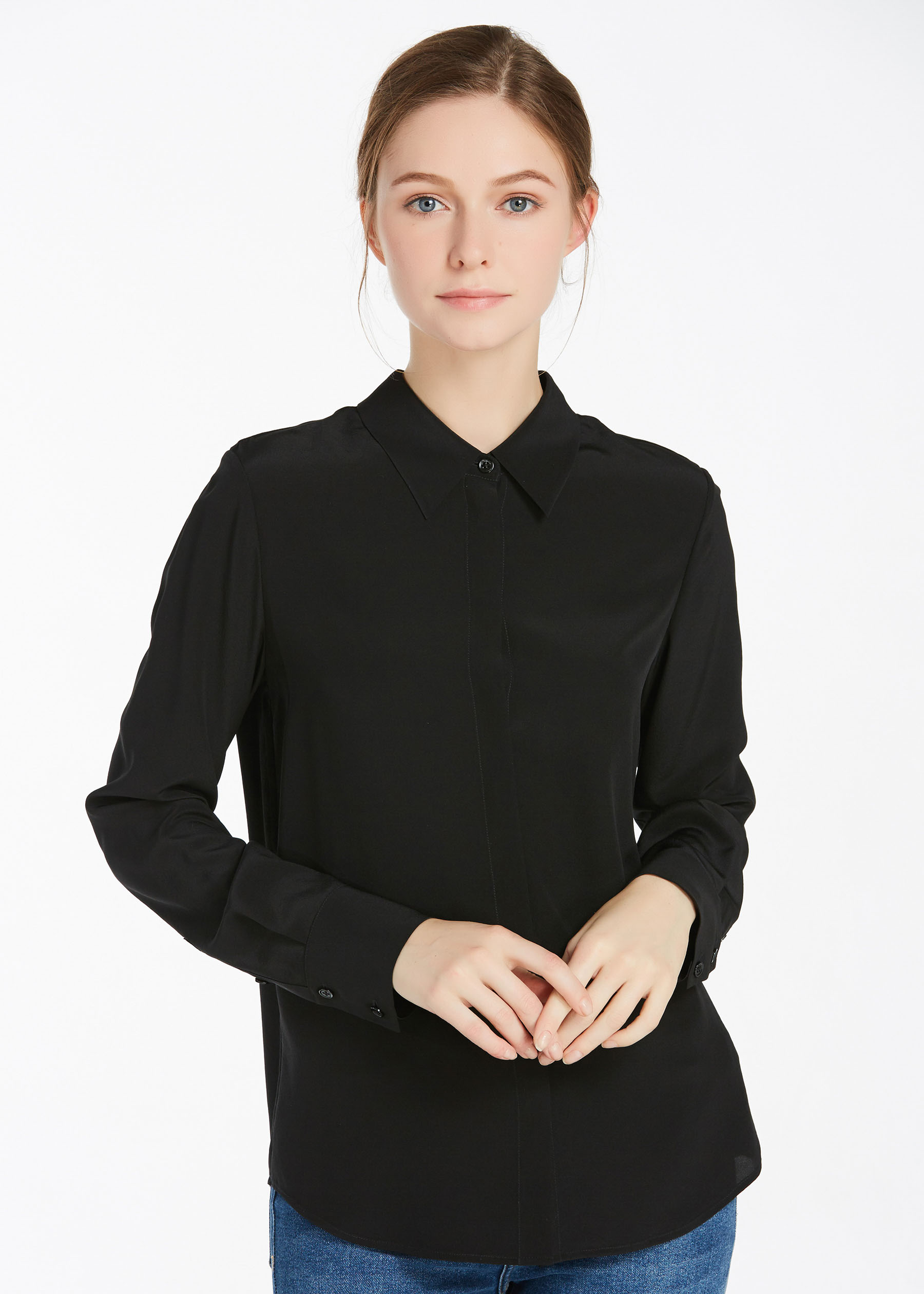 18mm wrinkle free basic silk shirt hot sale on lilysilk Wrinkle free shirts for women