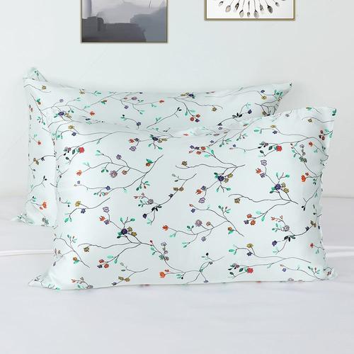 19 Momme Fresh Spring Print Silk Pillowcase with Hidden Zipper