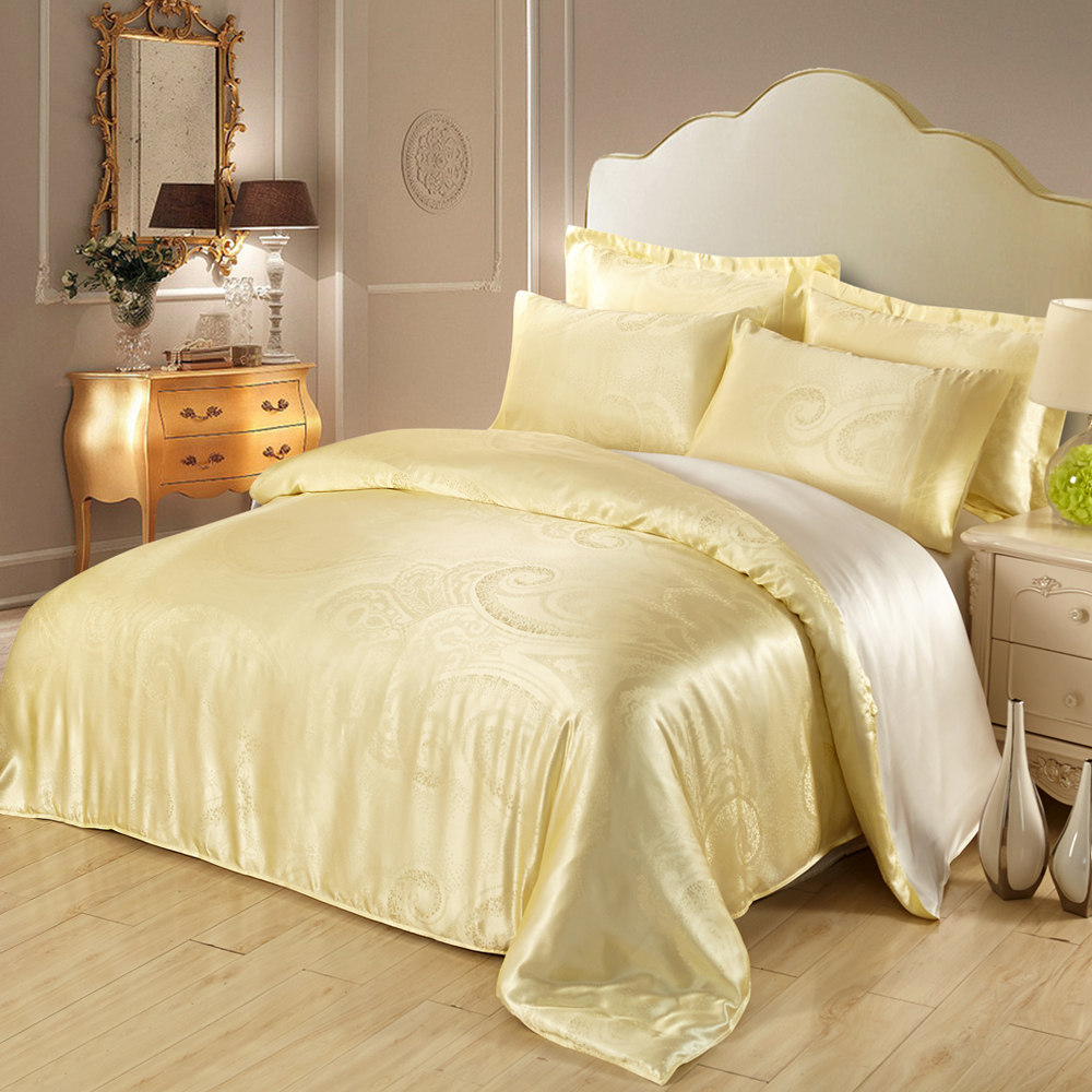 19 Mm Jacquard Silk Bedding Set In Light Yellow