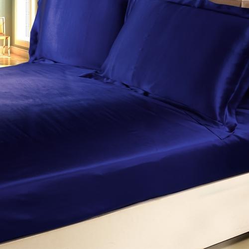19 Momme Naadloze Zijden Hoeslakens Blauw Kleur