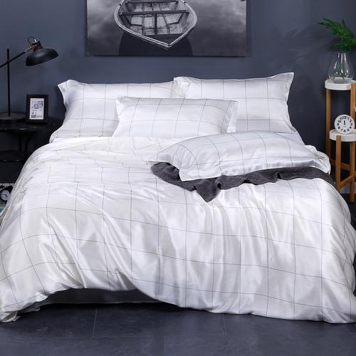 19 Momme White Plaid Silk Bedding Set